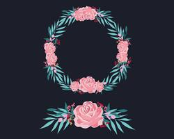 Pink and Blue Floral Wreath