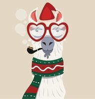 Alpaca med julhatt och halsduk