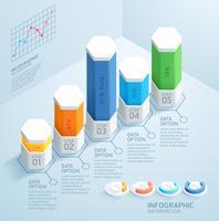 Modello di progettazione infografica affari con 5 passaggi
