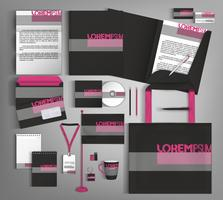 Black corporate identity template design. Business set stationery.