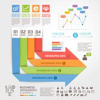 Business infographics design template with arrows and 4 steps