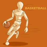 Concepto de baloncesto con maniquí humano de madera
