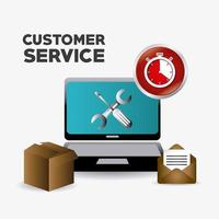 Customer service support elements around laptop