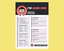 Avatar Resume Template vector