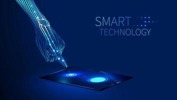 mão usando tecnologia inteligente