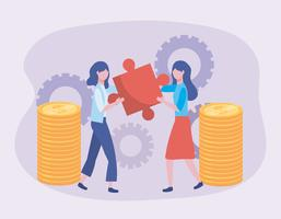 Businesswomen with puzzle pieces and coins