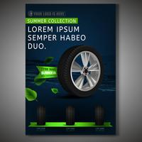 Tire Poster Design on dark background