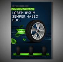 Design de cartaz de pneu em fundo escuro