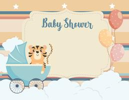 Baby shower card with tiger in carriage with balloons
