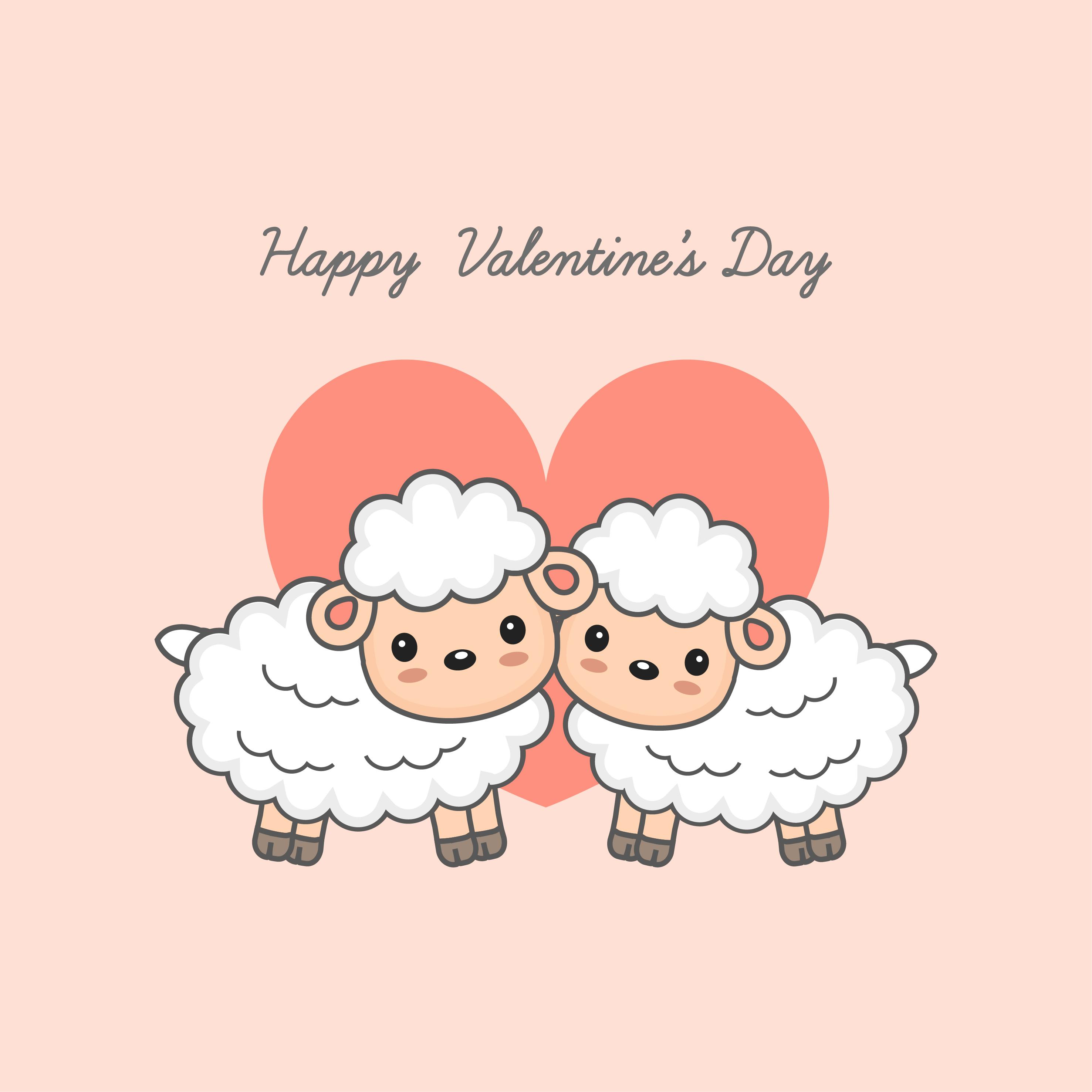 Feliz Dia De San Valentin Postal Pareja De Ovejas Dulces