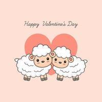 Happy Valentine's day postcard. Sweet sheep couple