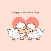 Happy Valentine's day postcard. Sweet sheep couple