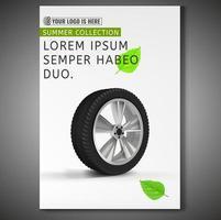 Design de cartaz de pneu em fundo branco