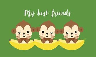 Beste vrienden met schattige apen. Gelukkig jungle dierlijk beeldverhaal.