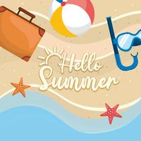 Hello summer message on sand with briefcase and snorkel mask