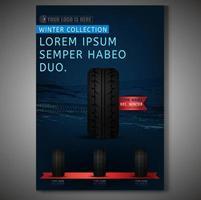 Design de cartaz de loja de pneus realista
