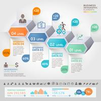 Business infographics design template with 4 levels or steps