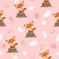 Cute fox with leaves decoration pattern vector