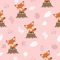 Leuke vos met het patroon van de bladerendecoratie