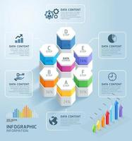 Business infographics design template with steps A-F