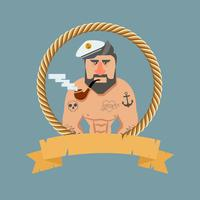 Vintage Sailor with a pipe vector