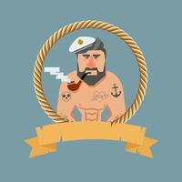 Vintage marinero con una pipa