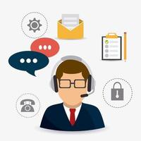 Agent de service clientèle masculin entouré d'icônes de bureau