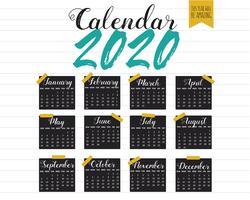 Layout do calendário 2020