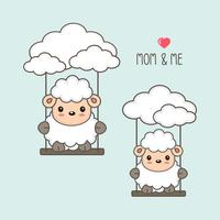 Sheep and baby swing in the sky.
