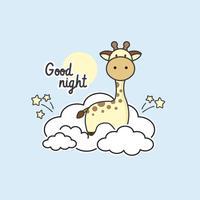 Linda jirafa sentada en las nubes.