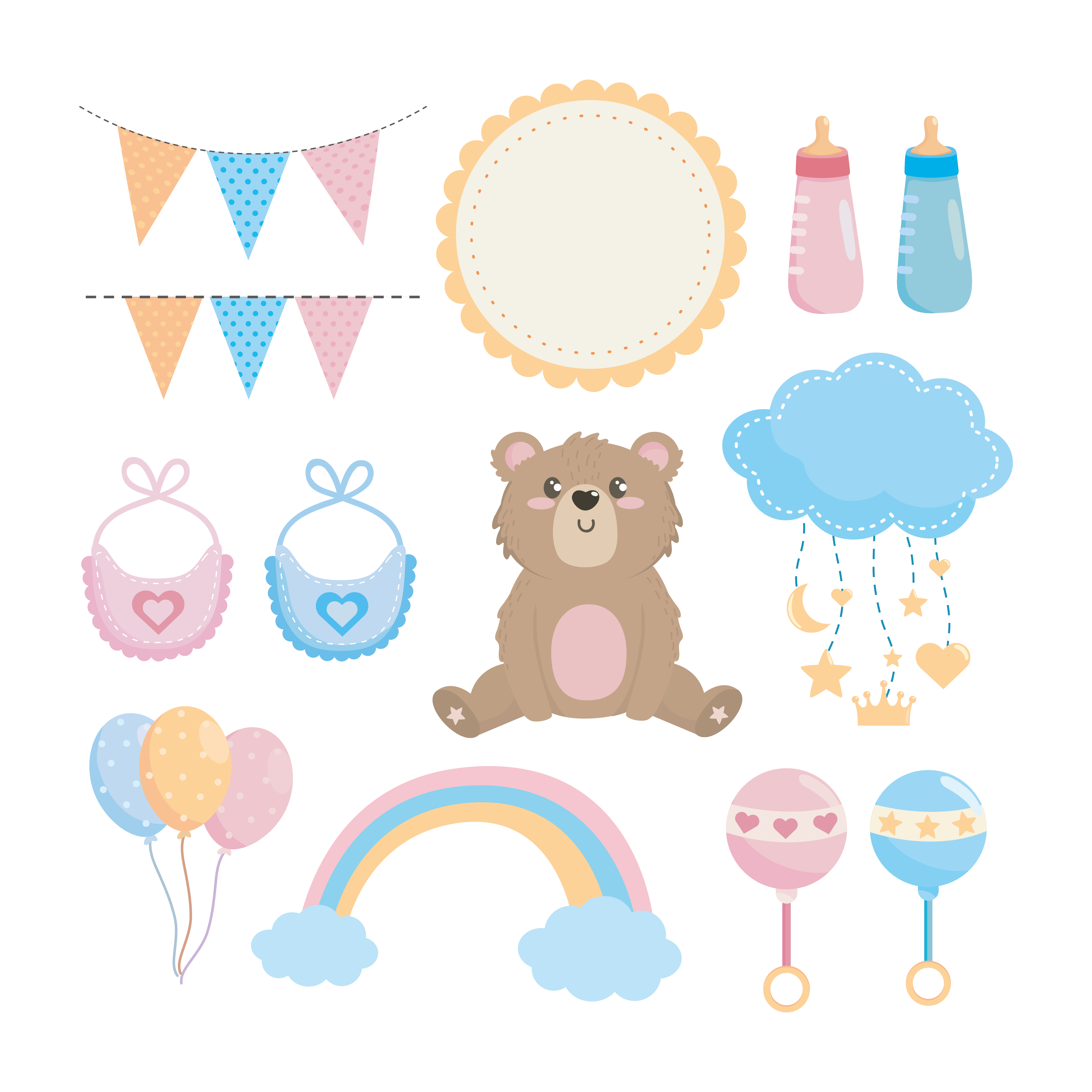 Set Of Boy Girl Baby Shower Decorations Download Free Vectors