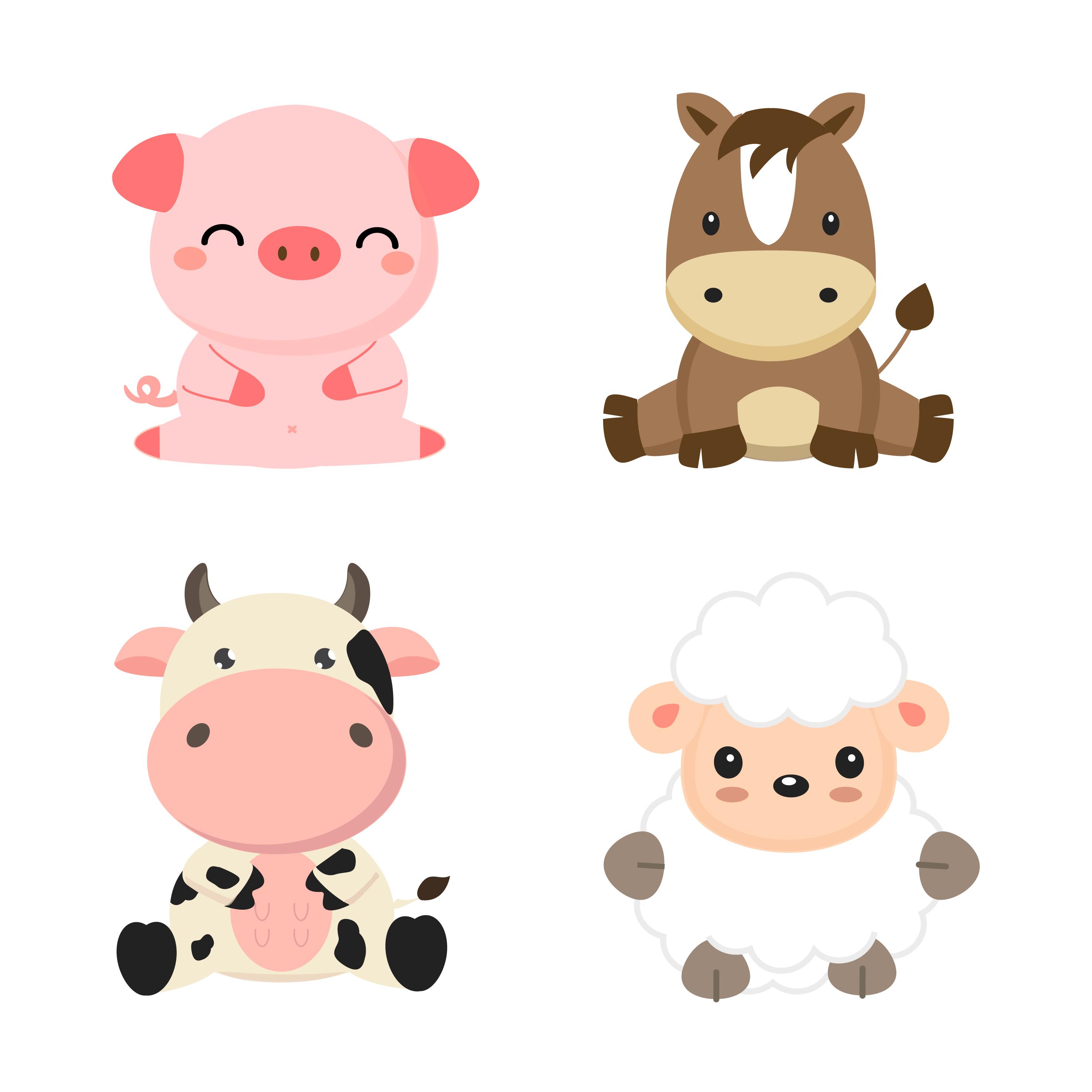 Cute Farm Animals Cow Pig Sheep And Horse Download Free Vectors Clipart Graphics Vector Art