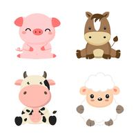 Cute farm animals cow, pig, sheep and horse. vector