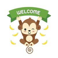 Scimmietta e scritte di benvenuto.