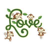 Little monkeys hanging on LOVE lettering. vector