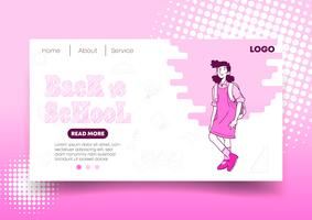 Pink Back to School web design and Landing Page vector