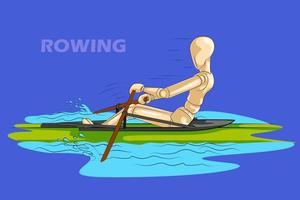 Concept d'aviron sportif avec mannequin humain en bois