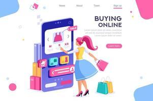 Mujer sosteniendo bolsas y compras en línea con teléfono móvil