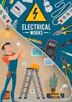 Electrical works poster with electrician and tools