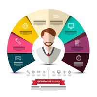 Progettazione variopinta di Infographic di vettore delle carte del cerchio con l'avatar e le icone dell'uomo di affari