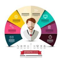 Cercle papiers colorés Vector Design infographique avec homme d'affaires Avatar et icônes