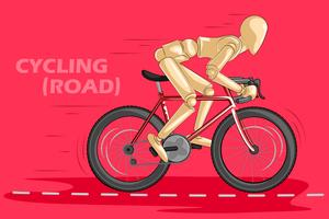 Concept of Cycling with wooden human mannequin
