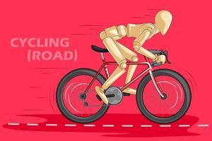 Concept van fietsen met houten menselijke mannequin