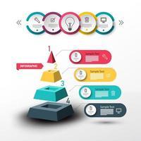 Progettazione moderna di vettore di Infographic con il diagramma di flusso di dati e della piramide