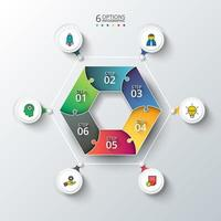 Vector cirkelelement för infographic med 6 steg och ikoner