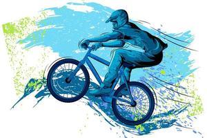Sportman fietsen met fiets en helm