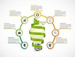 En glödlampa med en tidslinje i en cirkel. Infografik för affärspresentationer eller informationsbanner.