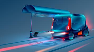 El autobús inteligente o minibús eléctrico autónomo se detiene en la parada del autobús urbano