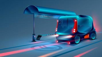 Autonomer elektrischer Smart Bus oder Minibus hält an der Haltestelle des Stadtbusses