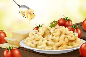 Macarrão delicioso com queijo em um prato